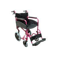 Deep Pink Compact Attendant Transport Aluminium Wheelchair