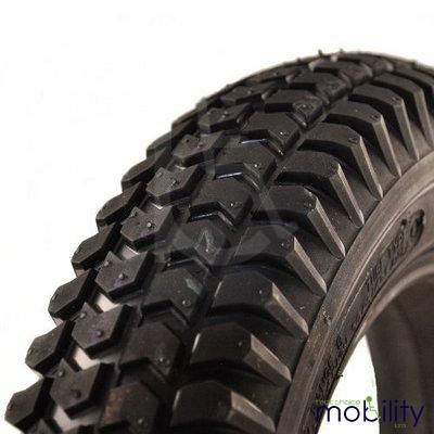 Puncture Proof Solid Scooter Tyres 3.00 x 4 (260 x 85) Block Tread Black