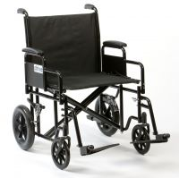 Bariatric Steel Transport Chair 22 inch Wide Seat 32 stone