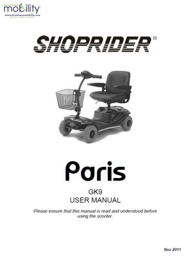 Shoprider Paris Manual