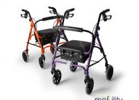 Lightweight Folding Four Wheel Rollator Walker in 3 sizes and 6 colours