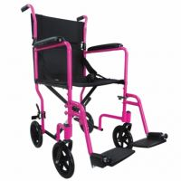 Pink Aluminium Compact Transport Wheelchair