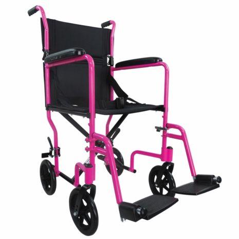 Pink Aluminium Compact Transport Wheelchair