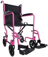 Pink Steel Compact Transport Wheelchair