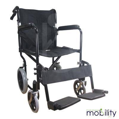 Black Attendant Propelled Transport Wheelchair