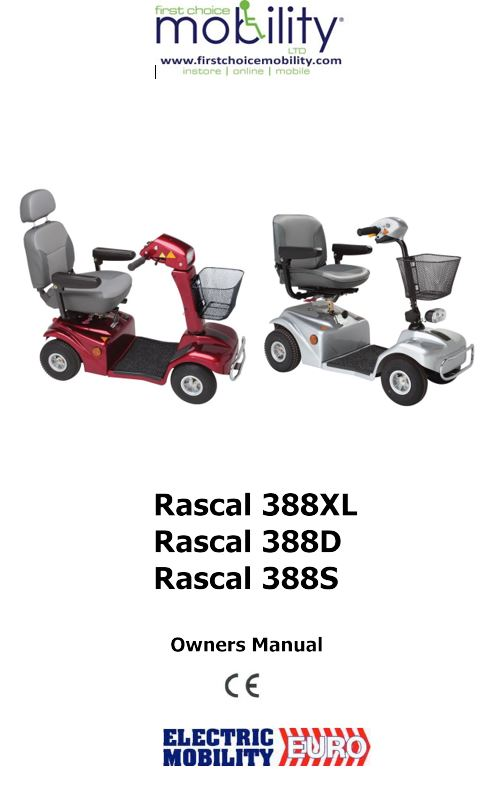 Electric Mobility Rascal 388 Manual on